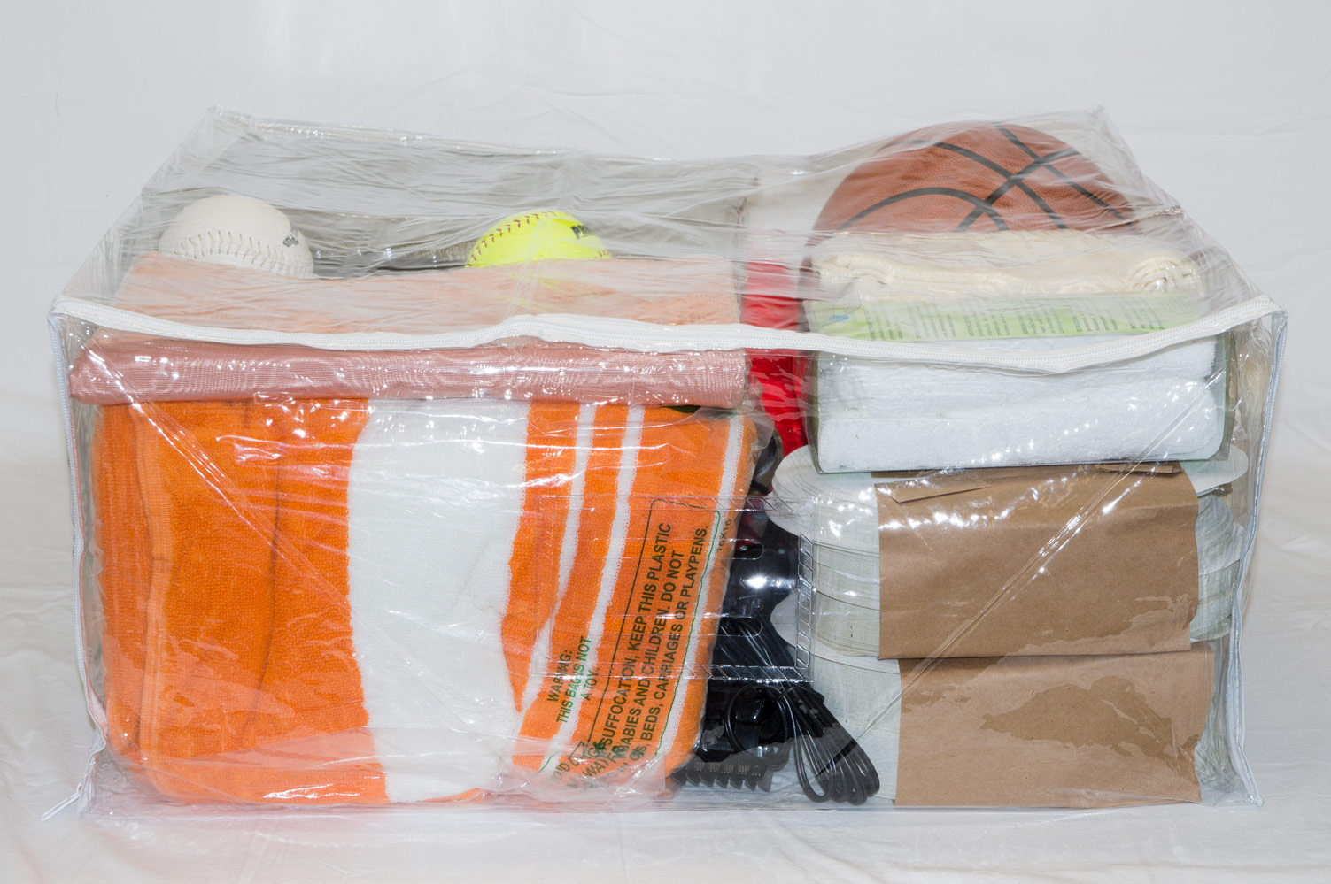 5 Pack Heavy Duty Vinyl Zippered Storage Bags Clear 24 X